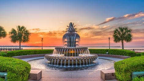 南卡罗来纳州查尔斯顿著名的菠萝喷泉