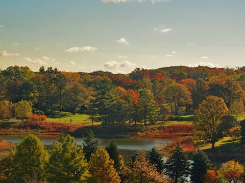 七彩斑斓的秋色令 Round Meadow 湖显得分外绚丽