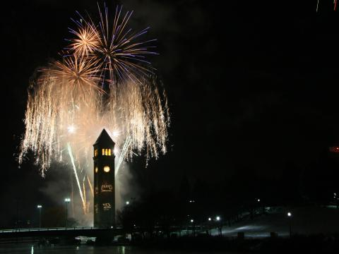 Downtown Spokane explodes with fireworks at First Night Spokane on New Year's Eve