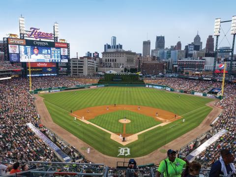 去市中心的柯美利加球场观看底特律老虎队比赛